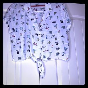 Crop button up shirt